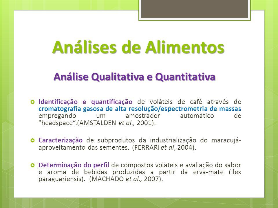 Análises de Alimentos Análise Qualitativa e Quantitativa Identificação e quantificação de voláteis de café através de cromatografia gasosa de alta res