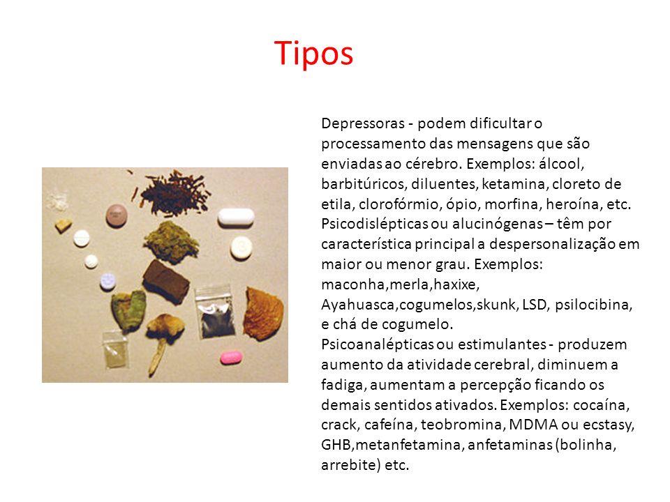 Depressoras - podem dificultar o processamento das mensagens que são enviadas ao cérebro. Exemplos: álcool, barbitúricos, diluentes, ketamina, cloreto