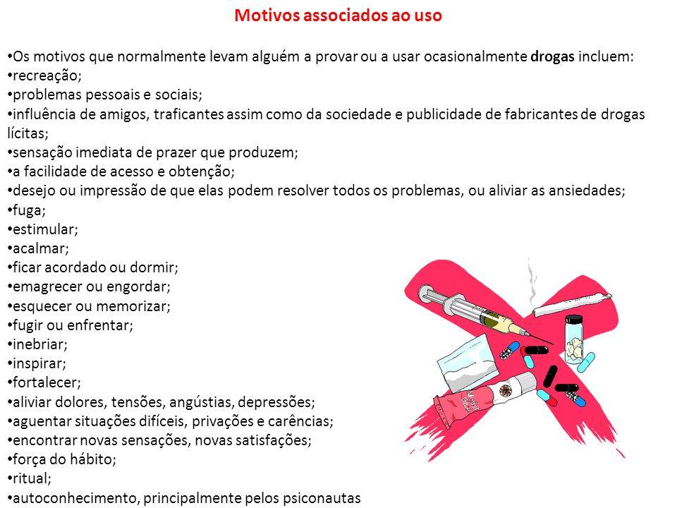 Motivos associados ao uso Os motivos que normalmente levam alguém a provar ou a usar ocasionalmente drogas incluem: recreação; problemas pessoais e so