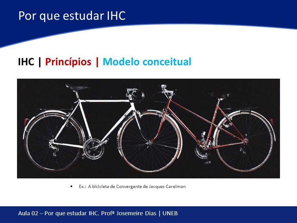Aula 02 – Por que estudar IHC. Profª Josemeire Dias | UNEB Por que estudar IHC IHC | Princípios | Modelo conceitual Ex.: A bicicleta de Convergente de