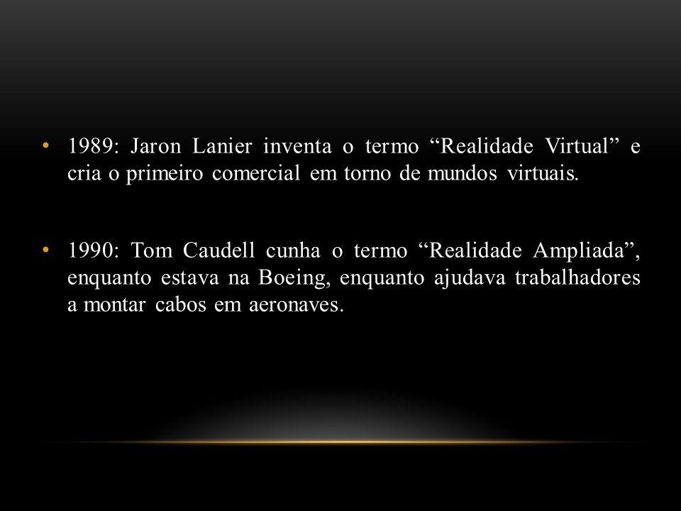 1989: Jaron Lanier inventa o termo Realidade Virtual e cria o primeiro comercial em torno de mundos virtuais. 1990: Tom Caudell cunha o termo Realidad