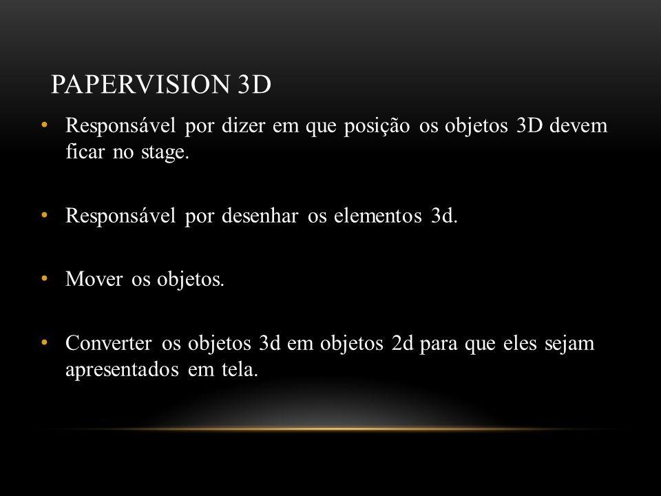 PAPERVISION 3D Responsável por dizer em que posição os objetos 3D devem ficar no stage. Responsável por desenhar os elementos 3d. Mover os objetos. Co