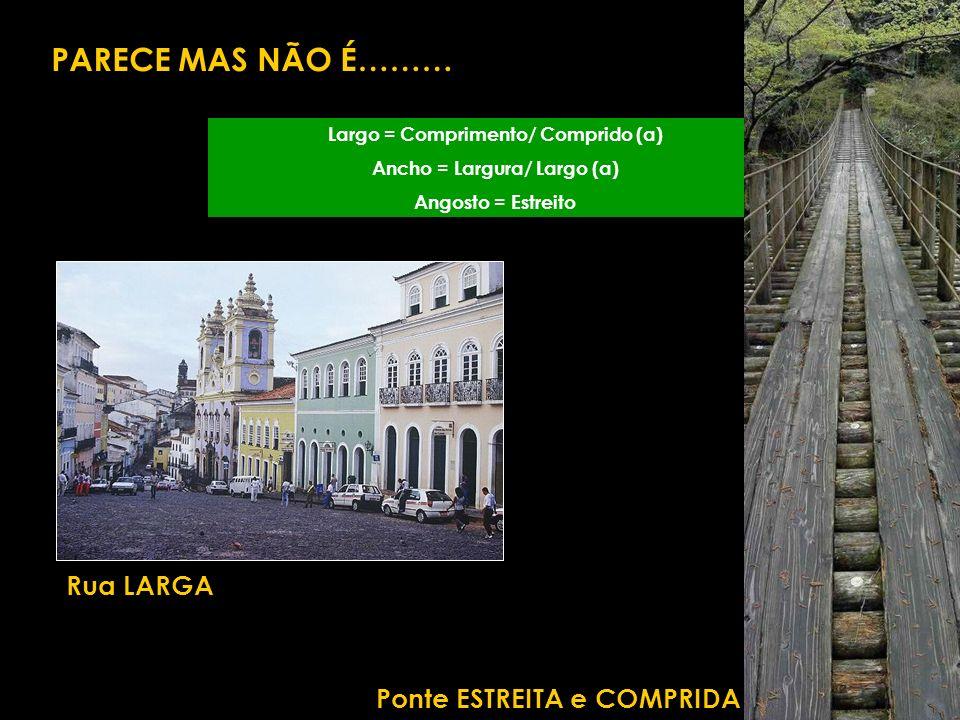 Largo = Comprimento/ Comprido (a) Ancho = Largura/ Largo (a) Angosto = Estreito PARECE MAS NÃO É……… Rua LARGA Ponte ESTREITA e COMPRIDA