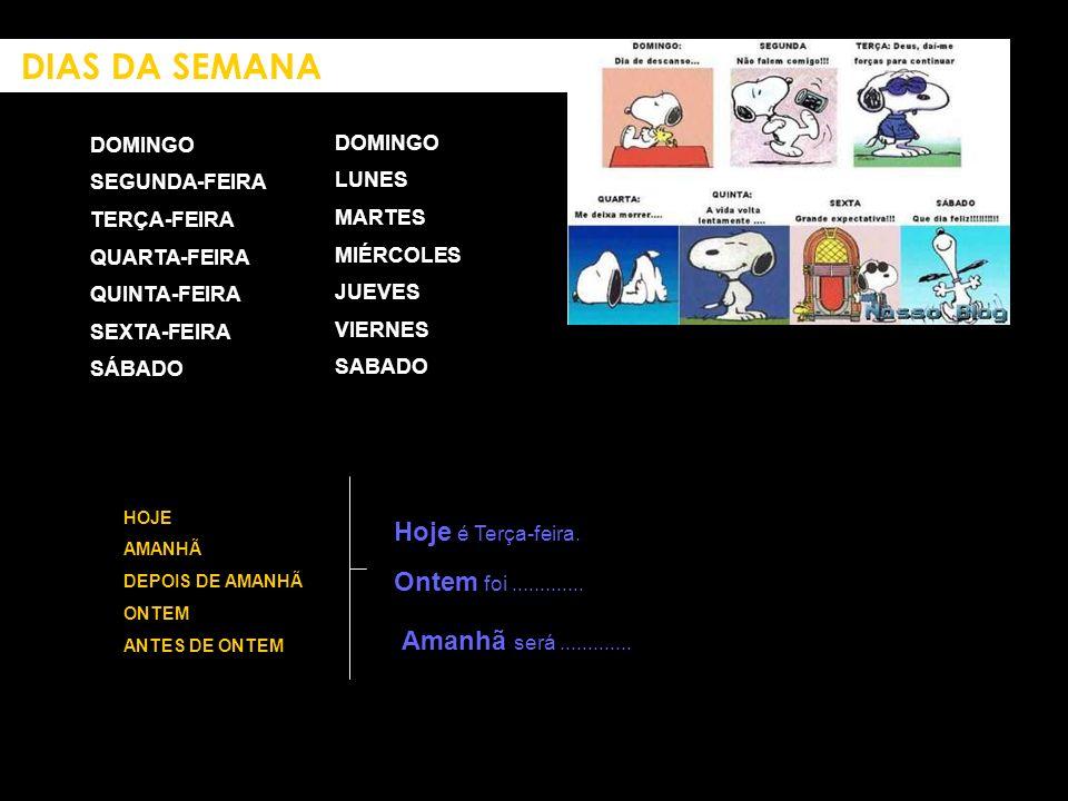 DOMINGO SEGUNDA-FEIRA TERÇA-FEIRA QUARTA-FEIRA QUINTA-FEIRA SEXTA-FEIRA SÁBADO DOMINGO LUNES MARTES MIÉRCOLES JUEVES VIERNES SABADO DIAS DA SEMANA HOJ