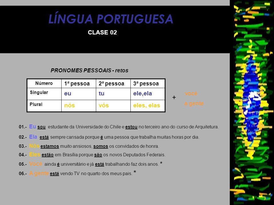 LÍNGUA PORTUGUESA CLASE 02 PRONOMES PESSOAIS - retos Número 1ª pessoa2ª pessoa3ª pessoa Singular eutuele,ela Plural nósvóseles, elas 01.- Eu sou estud