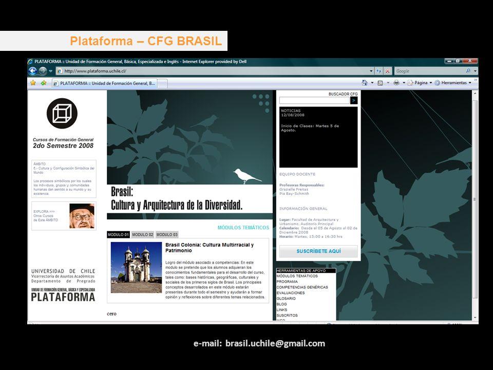 Plataforma – CFG BRASIL e-mail: brasil.uchile@gmail.com