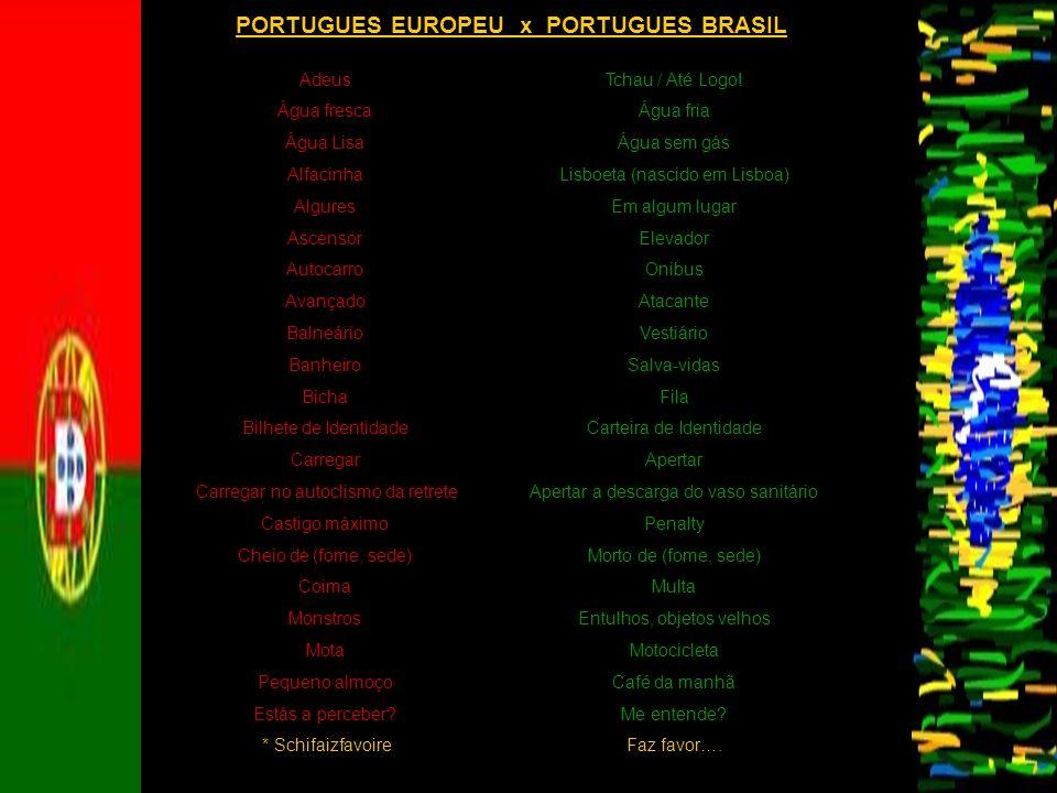 PORTUGUES EUROPEU x PORTUGUES BRASIL Adeus Água fresca Água Lisa Alfacinha Algures Ascensor Autocarro Avançado Balneário Banheiro Bicha Bilhete de Ide