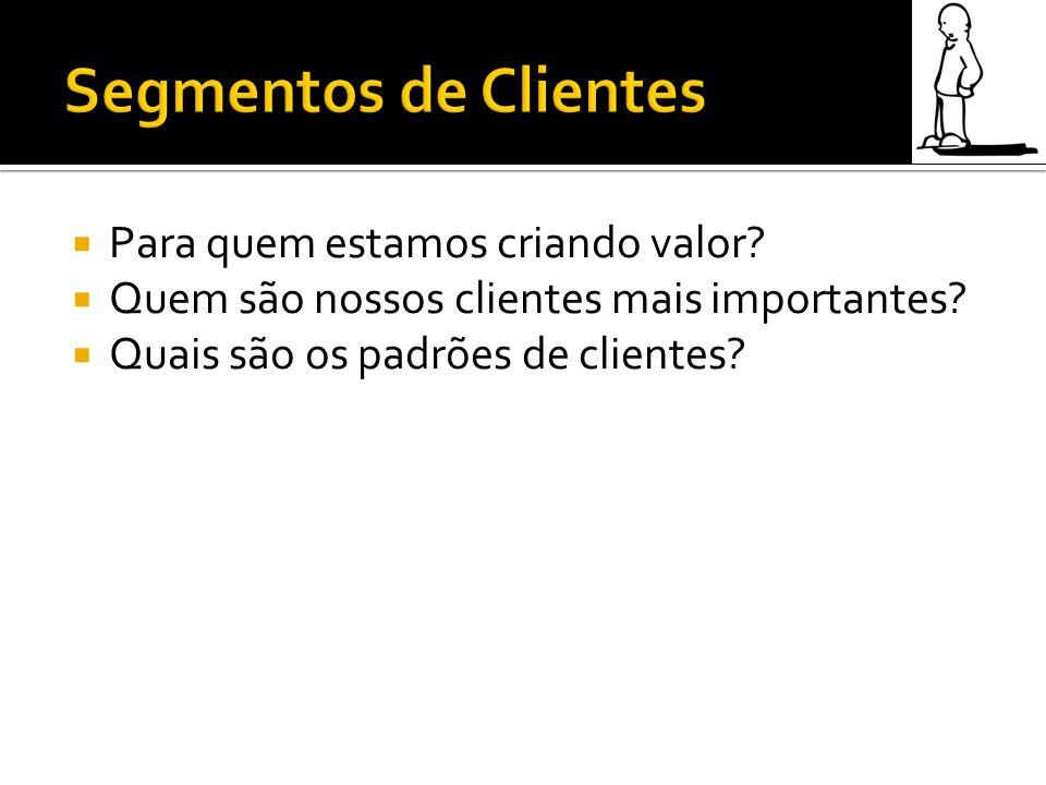 Para quem estamos criando valor? Quem são nossos clientes mais importantes? Quais são os padrões de clientes?