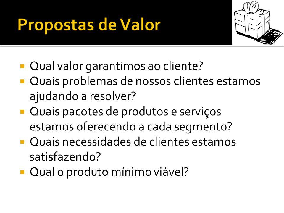 Qual valor garantimos ao cliente? Quais problemas de nossos clientes estamos ajudando a resolver? Quais pacotes de produtos e serviços estamos oferece