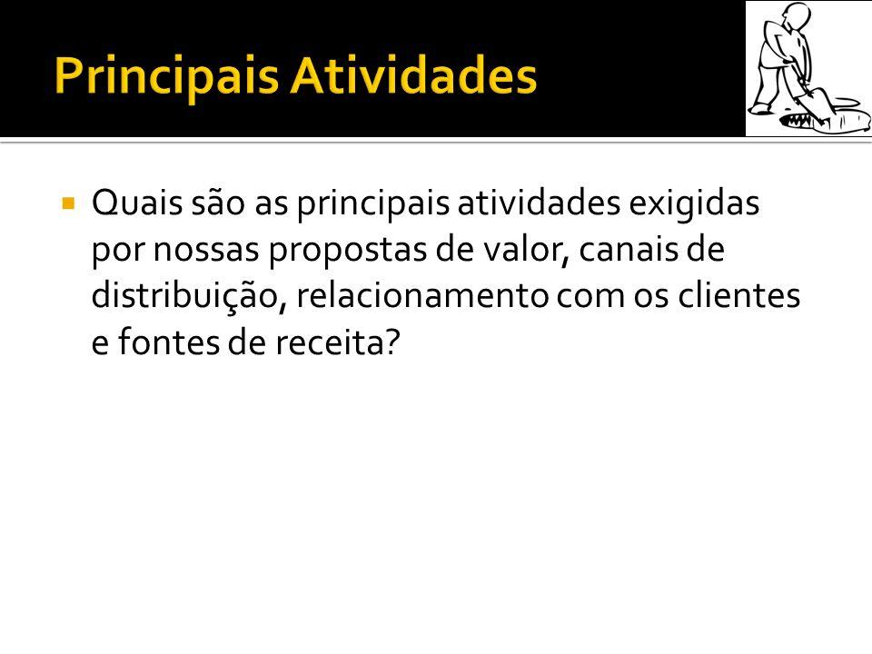 Quais são as principais atividades exigidas por nossas propostas de valor, canais de distribuição, relacionamento com os clientes e fontes de receita?