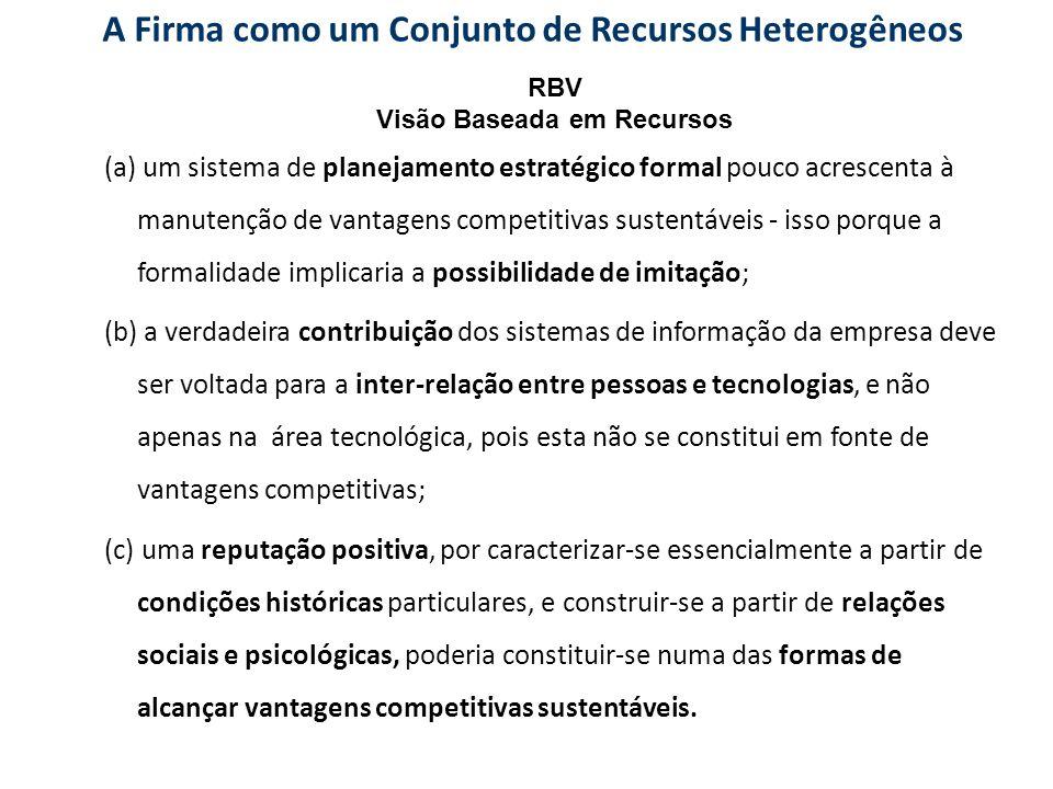A Firma como um Conjunto de Recursos Heterogêneos (a) um sistema de planejamento estratégico formal pouco acrescenta à manutenção de vantagens competi