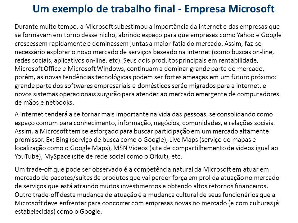 Um exemplo de trabalho final - Empresa Microsoft Durante muito tempo, a Microsoft subestimou a importância da internet e das empresas que se formavam