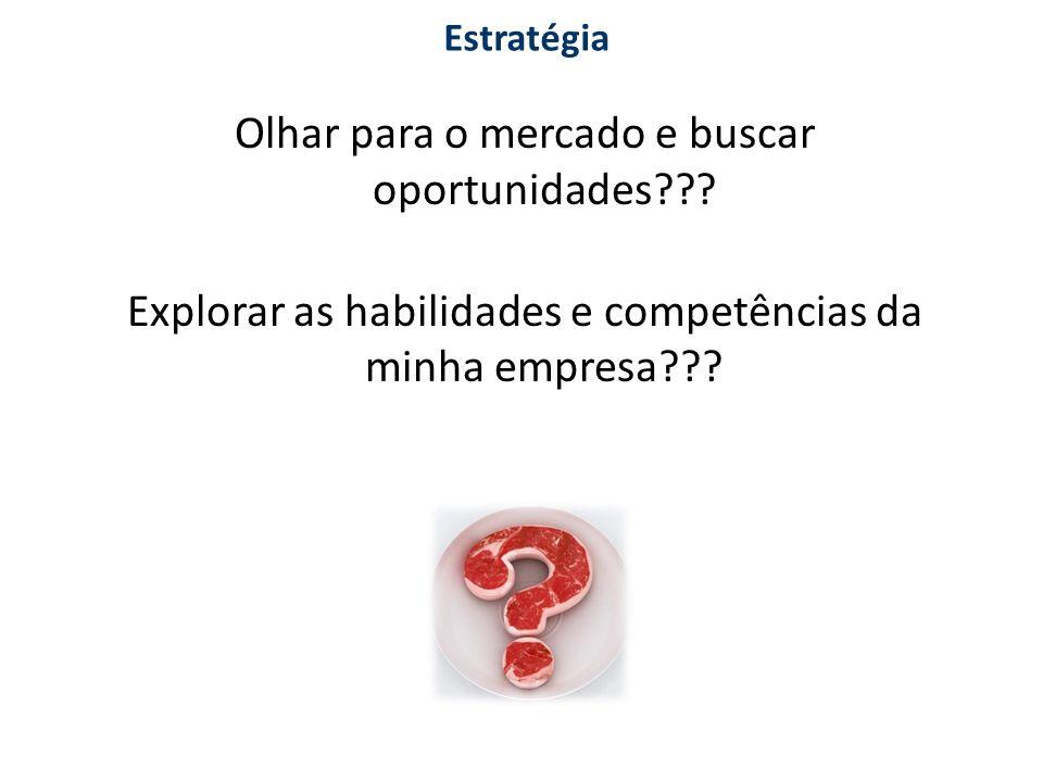Olhar para o mercado e buscar oportunidades??? Explorar as habilidades e competências da minha empresa??? Estratégia