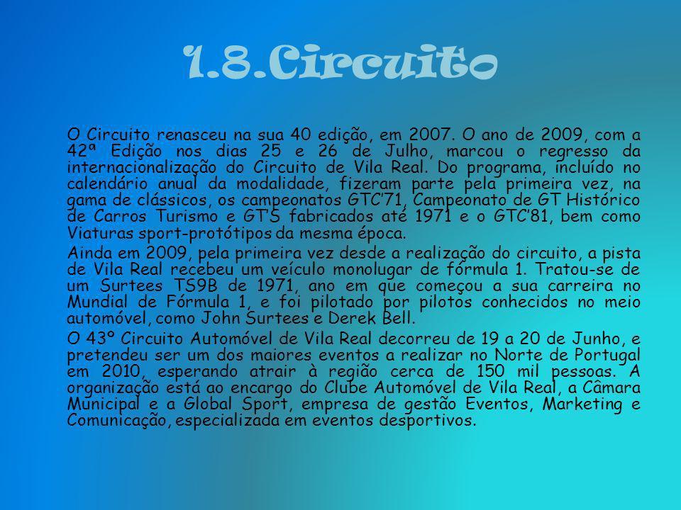 1.8.Circuito Até aos anos 50, as corridas foram essencialmente disputadas pelos principais pilotos nacionais, como Vasco Sameiro e Casimiro de Oliveir