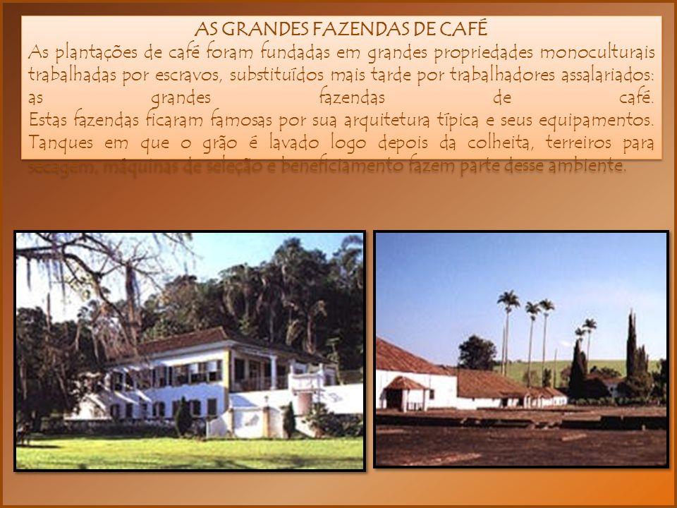 AS GRANDES FAZENDAS DE CAFÉ As plantações de café foram fundadas em grandes propriedades monoculturais trabalhadas por escravos, substituídos mais tarde por trabalhadores assalariados: as grandes fazendas de café.
