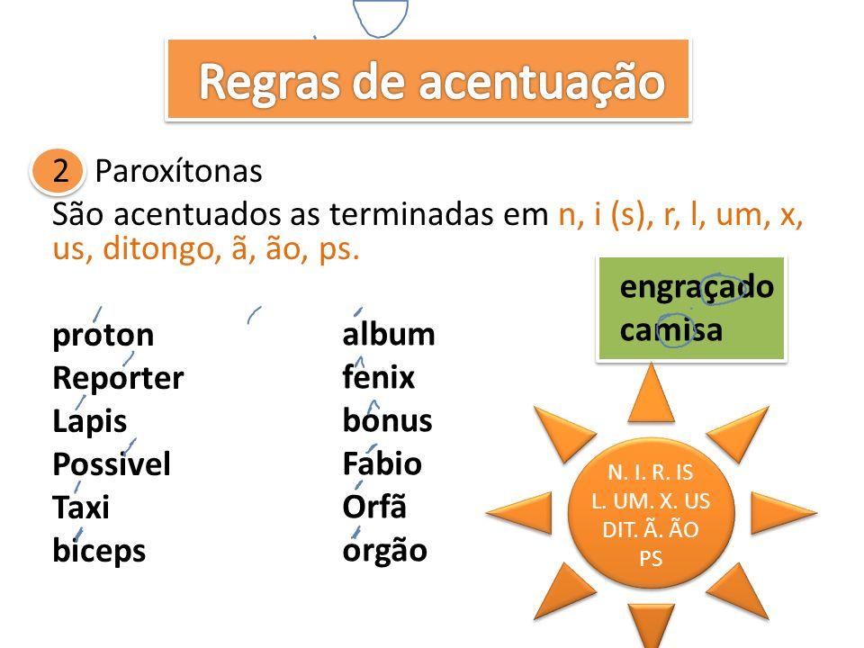 2 Paroxítonas São acentuados as terminadas em n, i (s), r, l, um, x, us, ditongo, ã, ão, ps.