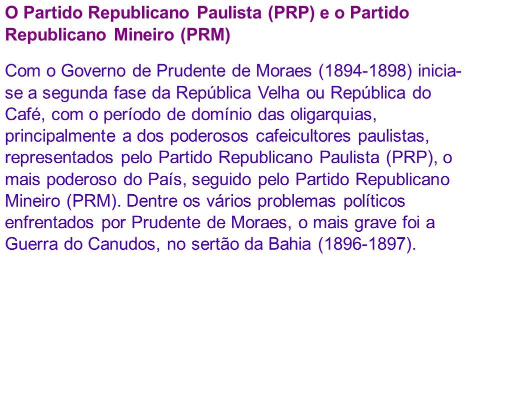 O Partido Republicano Paulista (PRP) e o Partido Republicano Mineiro (PRM) Com o Governo de Prudente de Moraes (1894-1898) inicia- se a segunda fase da República Velha ou República do Café, com o período de domínio das oligarquias, principalmente a dos poderosos cafeicultores paulistas, representados pelo Partido Republicano Paulista (PRP), o mais poderoso do País, seguido pelo Partido Republicano Mineiro (PRM).