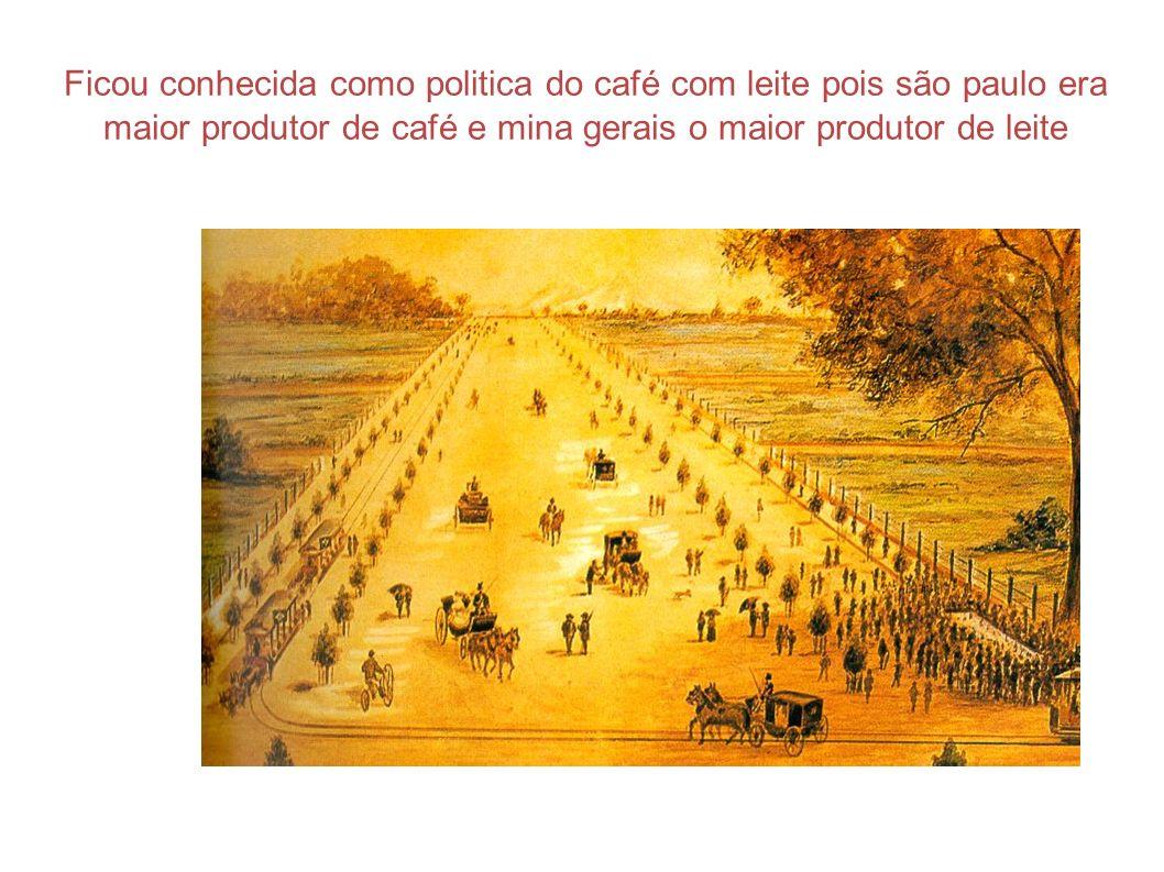 Ficou conhecida como politica do café com leite pois são paulo era maior produtor de café e mina gerais o maior produtor de leite