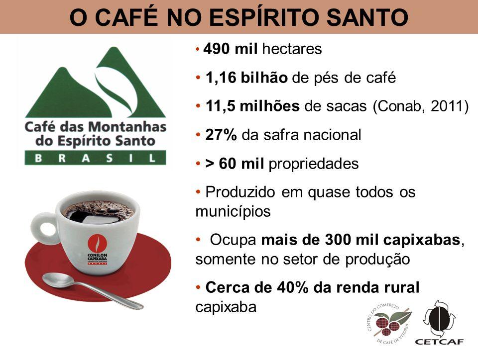 O CAFÉ NO ESPÍRITO SANTO 490 mil hectares 1,16 bilhão de pés de café 11,5 milhões de sacas (Conab, 2011) 27% da safra nacional > 60 mil propriedades Produzido em quase todos os municípios Ocupa mais de 300 mil capixabas, somente no setor de produção Cerca de 40% da renda rural capixaba