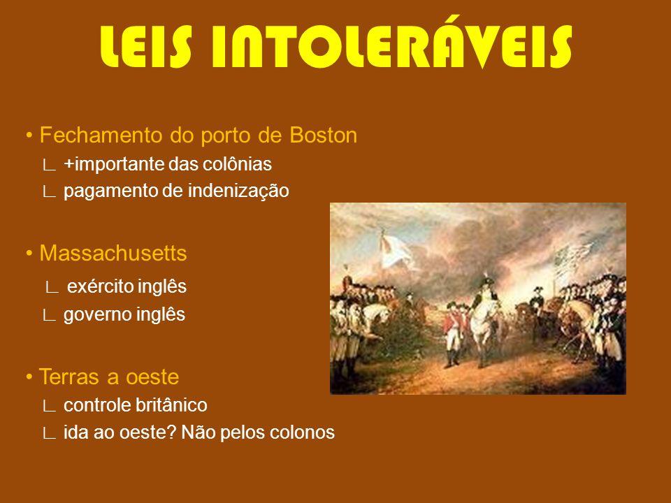 LEIS INTOLERÁVEIS Fechamento do porto de Boston +importante das colônias pagamento de indenização Massachusetts exército inglês governo inglês Terras
