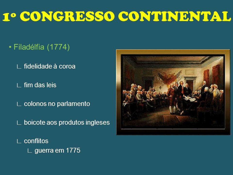 1º CONGRESSO CONTINENTAL Filadélfia (1774) fidelidade à coroa fim das leis colonos no parlamento boicote aos produtos ingleses conflitos guerra em 177