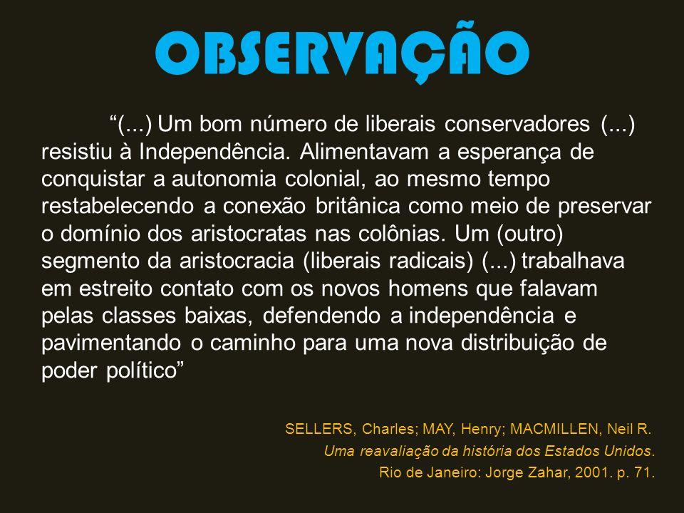 OBSERVAÇÃO (...) Um bom número de liberais conservadores (...) resistiu à Independência. Alimentavam a esperança de conquistar a autonomia colonial, a