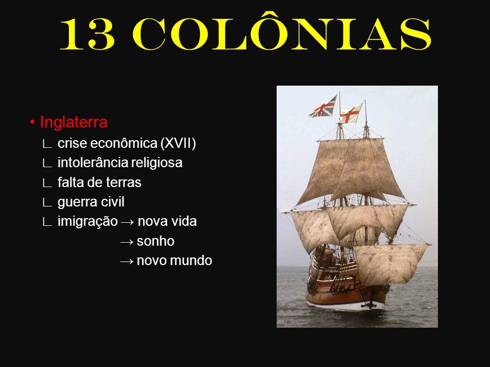 13 COLÔNIAS Inglaterra crise econômica (XVII) intolerância religiosa falta de terras guerra civil imigração nova vida sonho novo mundo