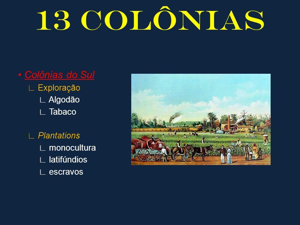 13 COLÔNIAS Colônias do Sul Exploração Algodão Tabaco Plantations monocultura latifúndios escravos