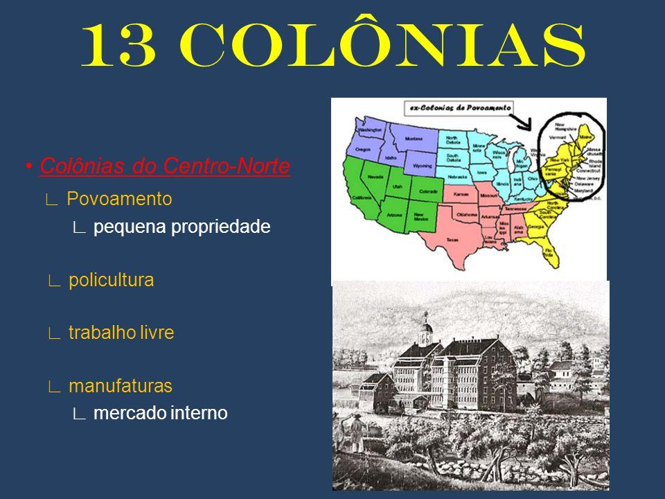 13 COLÔNIAS Colônias do Centro-Norte Povoamento pequena propriedade policultura trabalho livre manufaturas mercado interno