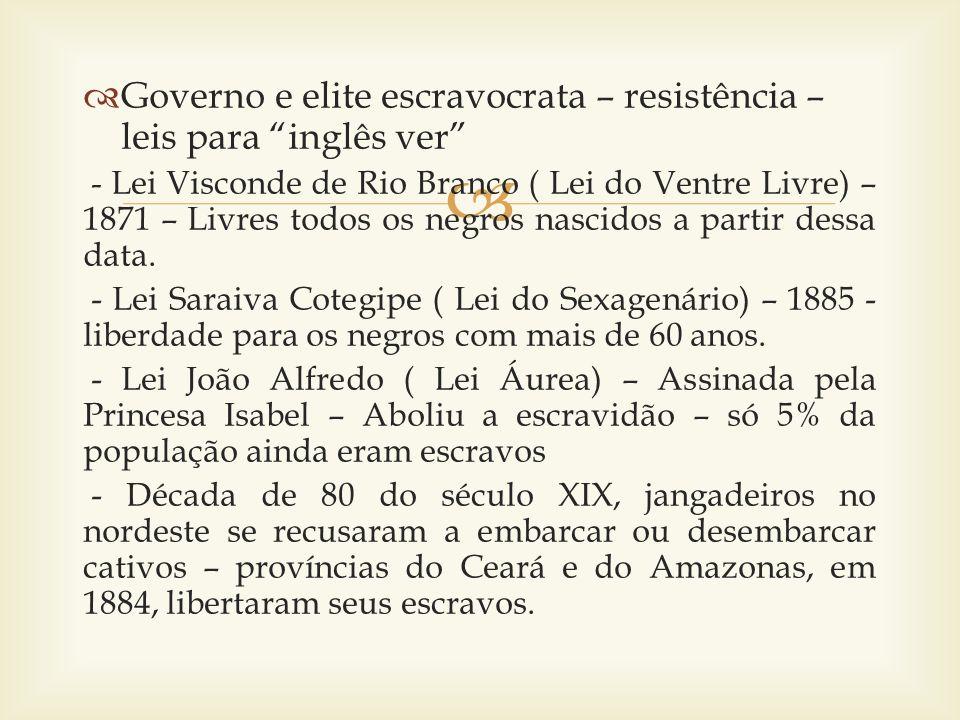 Governo e elite escravocrata – resistência – leis para inglês ver - Lei Visconde de Rio Branco ( Lei do Ventre Livre) – 1871 – Livres todos os negros