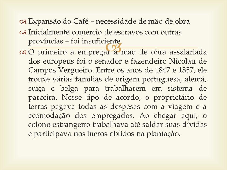 Expansão do Café – necessidade de mão de obra Inicialmente comércio de escravos com outras províncias – foi insuficiente O primeiro a empregar a mão d