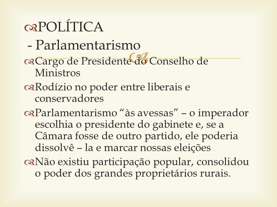 POLÍTICA - Parlamentarismo Cargo de Presidente do Conselho de Ministros Rodízio no poder entre liberais e conservadores Parlamentarismo às avessas – o