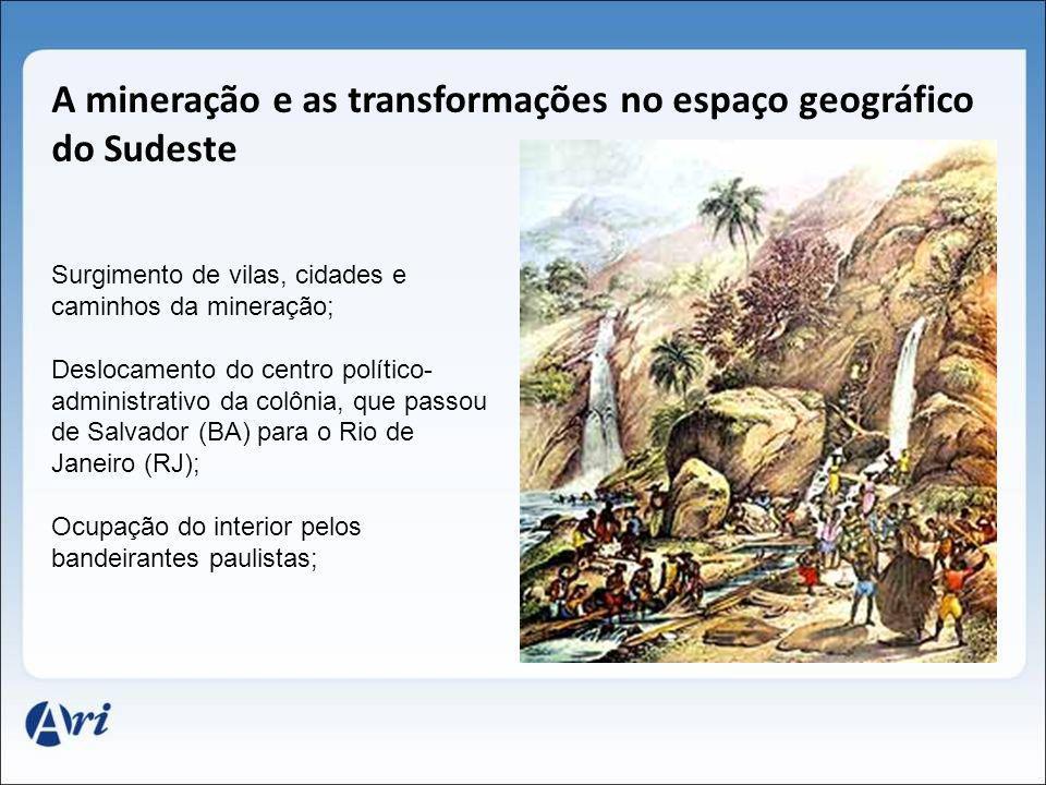A mineração e as transformações no espaço geográfico do Sudeste Surgimento de vilas, cidades e caminhos da mineração; Deslocamento do centro político-