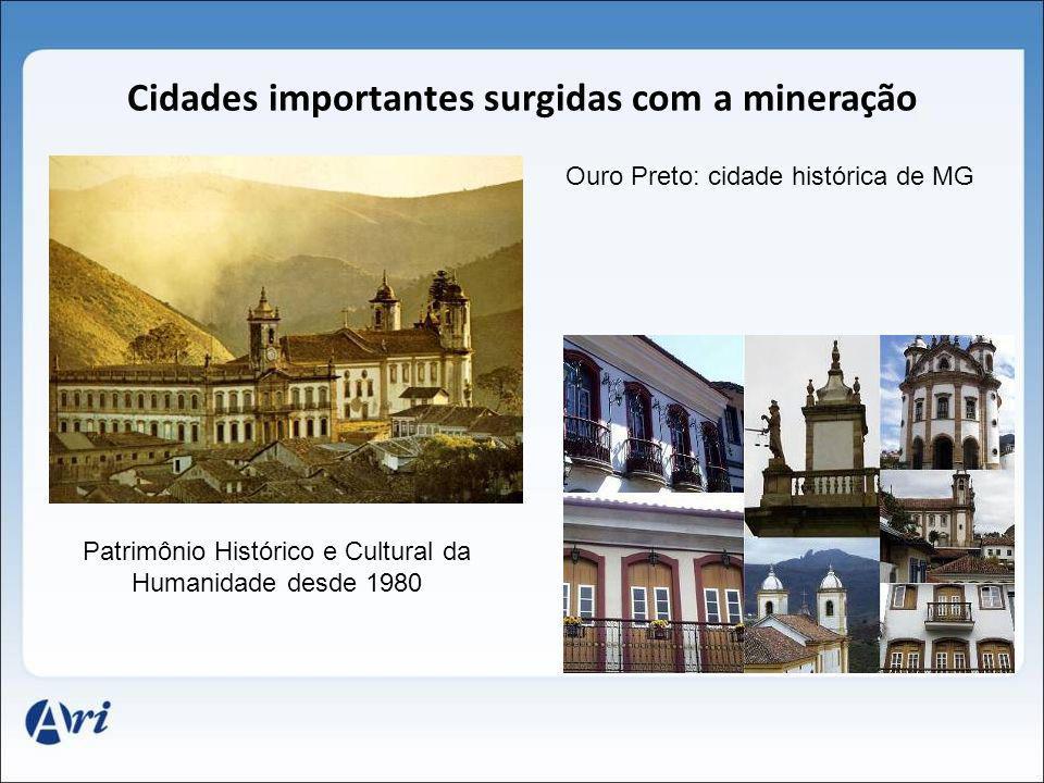 Cidades importantes surgidas com a mineração Patrimônio Histórico e Cultural da Humanidade desde 1980 Ouro Preto: cidade histórica de MG