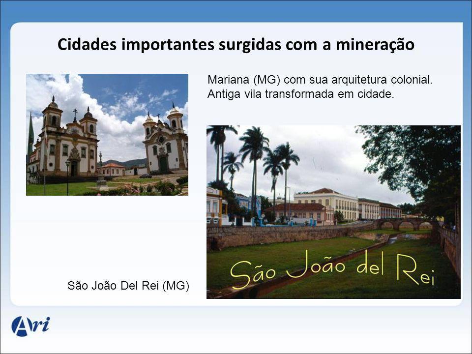 Cidades importantes surgidas com a mineração Mariana (MG) com sua arquitetura colonial. Antiga vila transformada em cidade. São João Del Rei (MG)