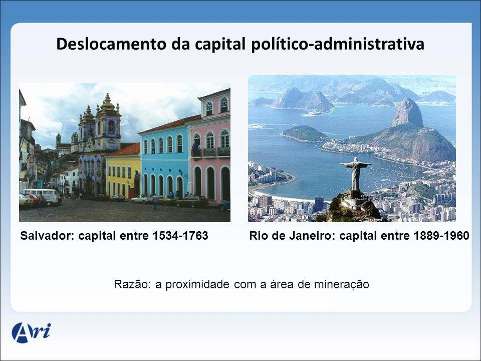 Deslocamento da capital político-administrativa Salvador: capital entre 1534-1763Rio de Janeiro: capital entre 1889-1960 Razão: a proximidade com a ár