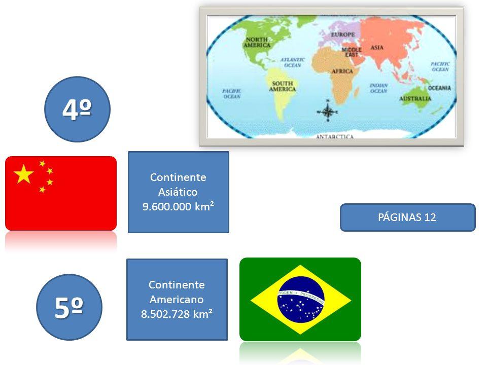 PÁGINAS 12 6º Continente Oceania 7.741.220 km² 7º Continente Asiático 3.287.260 km²