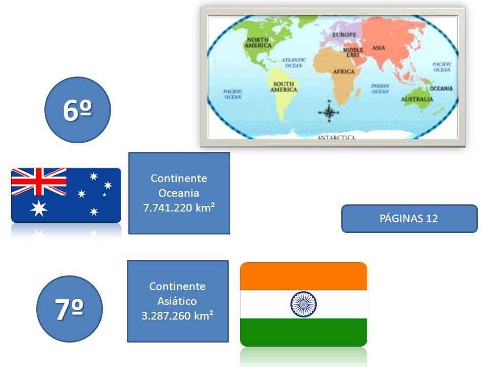 PÁGINAS 12 8º Continente Americano 2.780.400 km² 9º Continente Asiático 2.724.900 km²