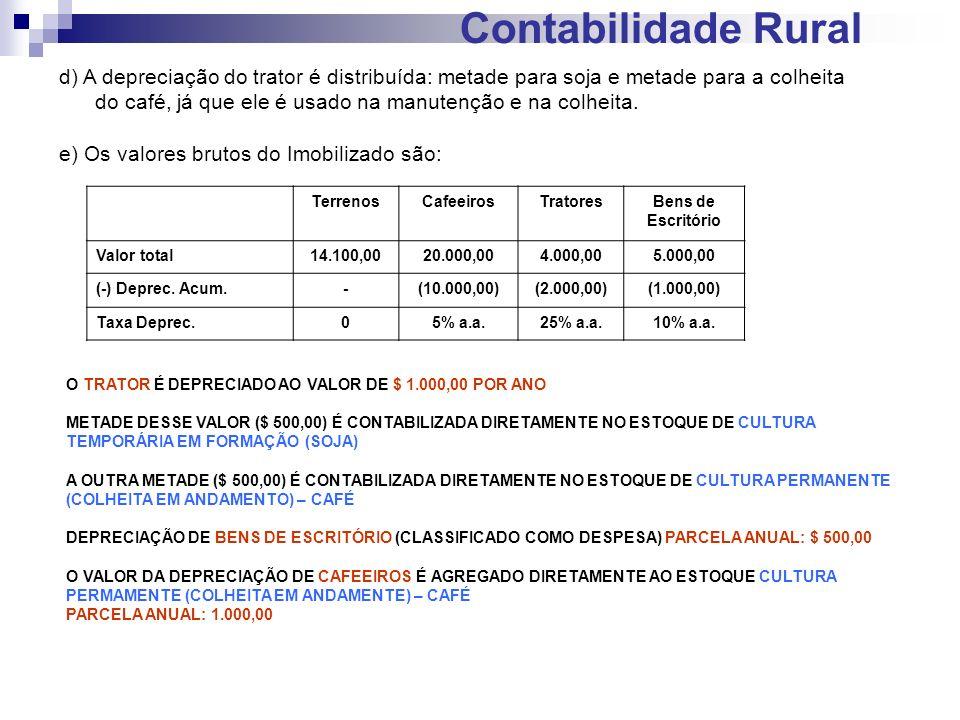 Contabilidade Rural d) A depreciação do trator é distribuída: metade para soja e metade para a colheita do café, já que ele é usado na manutenção e na