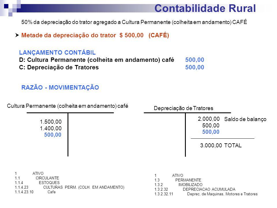 Contabilidade Rural Metade da depreciação do trator $ 500,00 (CAFÉ) LANÇAMENTO CONTÁBIL D: Cultura Permanente (colheita em andamento) café500,00 C: De