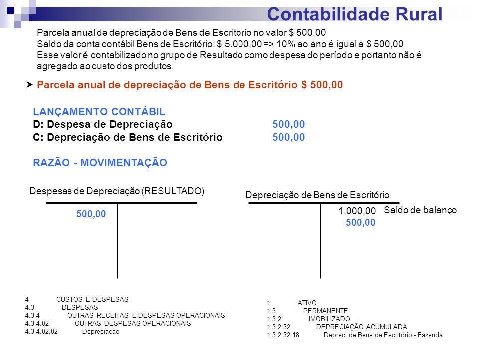 Contabilidade Rural Parcela anual de depreciação de Bens de Escritório $ 500,00 LANÇAMENTO CONTÁBIL D: Despesa de Depreciação500,00 C: Depreciação de