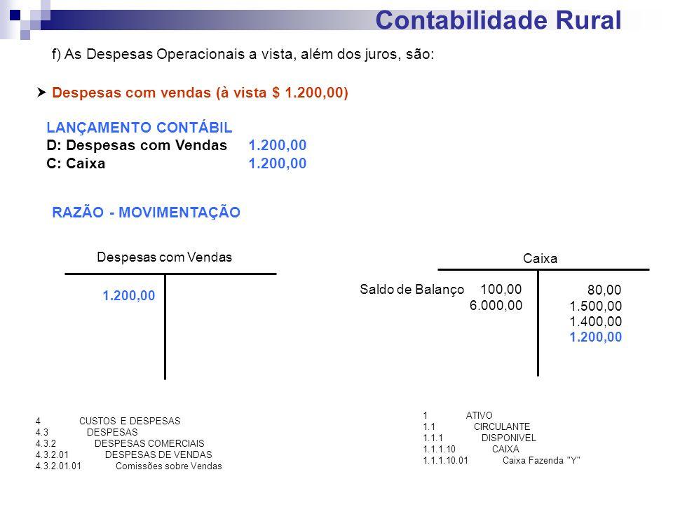 Contabilidade Rural Despesas com vendas (à vista $ 1.200,00) LANÇAMENTO CONTÁBIL D: Despesas com Vendas1.200,00 C: Caixa 1.200,00 RAZÃO - MOVIMENTAÇÃO