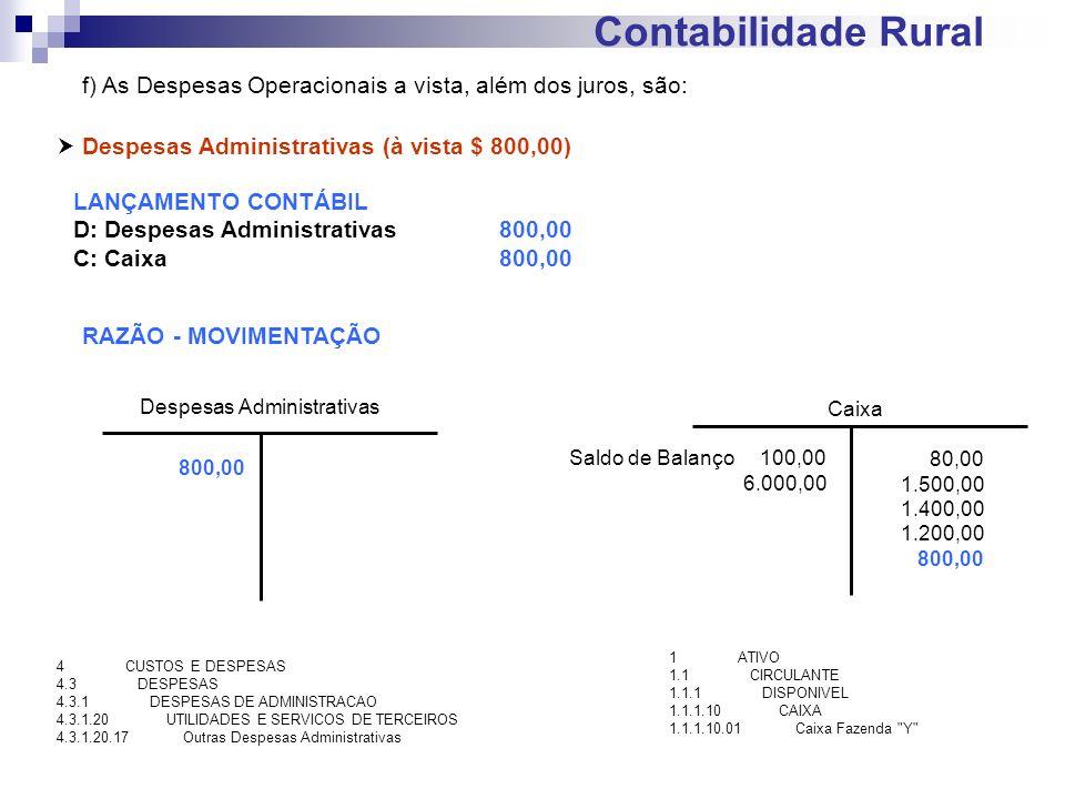 Contabilidade Rural Despesas Administrativas (à vista $ 800,00) LANÇAMENTO CONTÁBIL D: Despesas Administrativas800,00 C: Caixa 800,00 RAZÃO - MOVIMENT