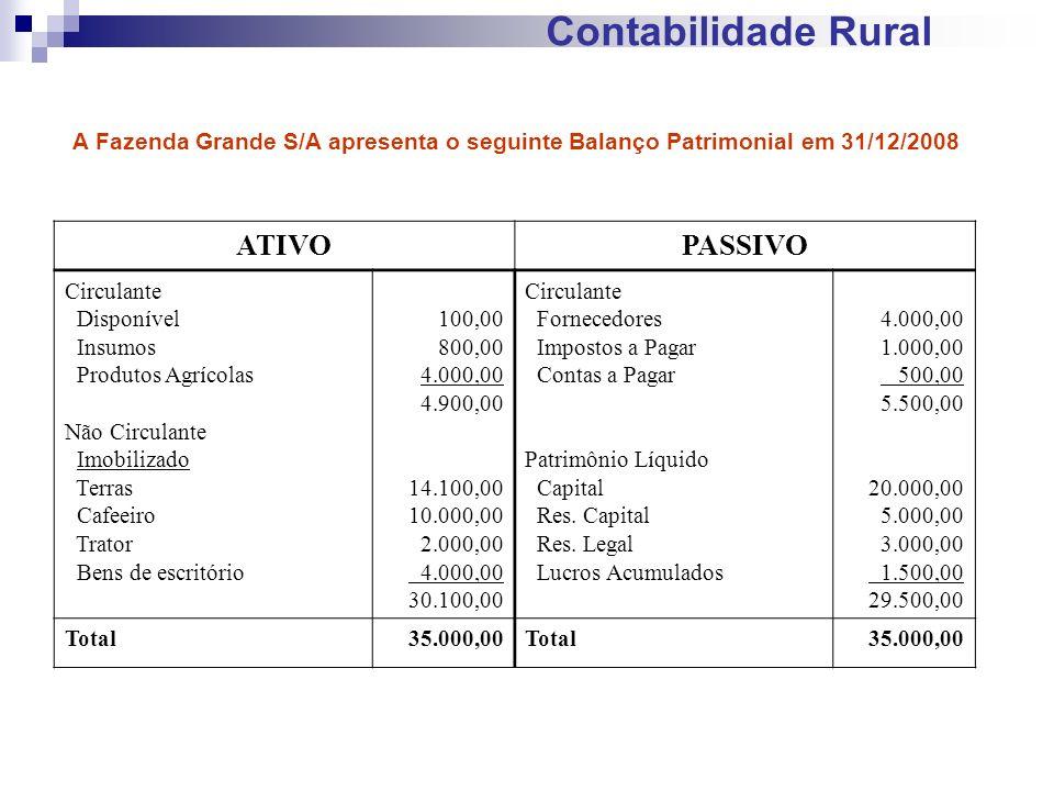 Contabilidade Rural ATIVOPASSIVO Circulante Disponível Insumos Produtos Agrícolas Não Circulante Imobilizado Terras Cafeeiro Trator Bens de escritório