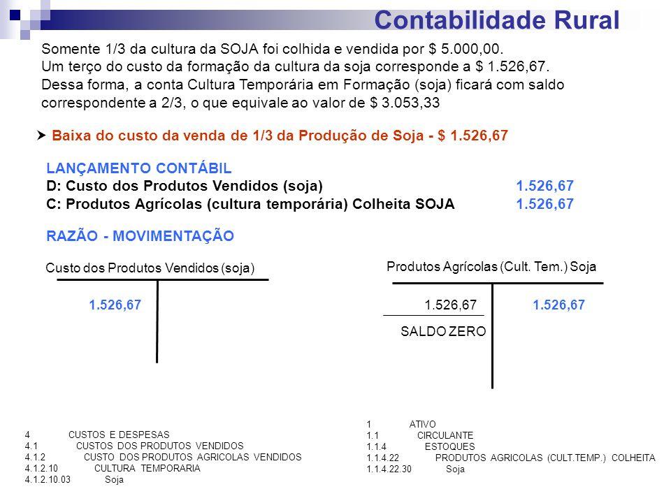 Contabilidade Rural Baixa do custo da venda de 1/3 da Produção de Soja - $ 1.526,67 LANÇAMENTO CONTÁBIL D: Custo dos Produtos Vendidos (soja)1.526,67