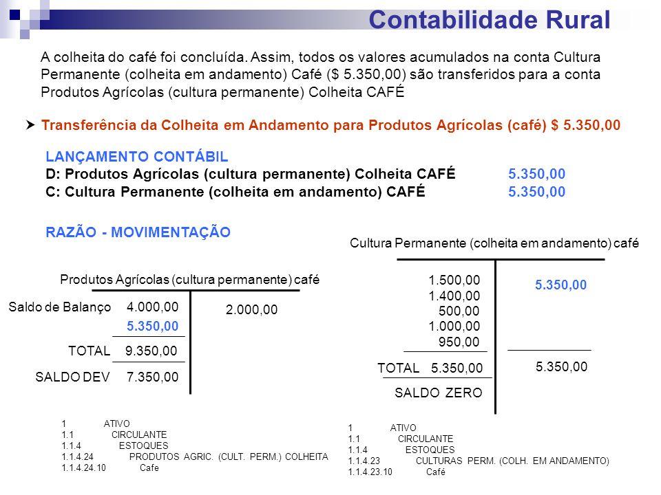 Contabilidade Rural Transferência da Colheita em Andamento para Produtos Agrícolas (café) $ 5.350,00 LANÇAMENTO CONTÁBIL D: Produtos Agrícolas (cultur