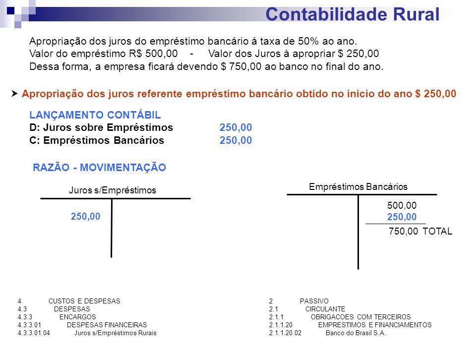 Contabilidade Rural Apropriação dos juros referente empréstimo bancário obtido no inicio do ano $ 250,00 LANÇAMENTO CONTÁBIL D: Juros sobre Empréstimo