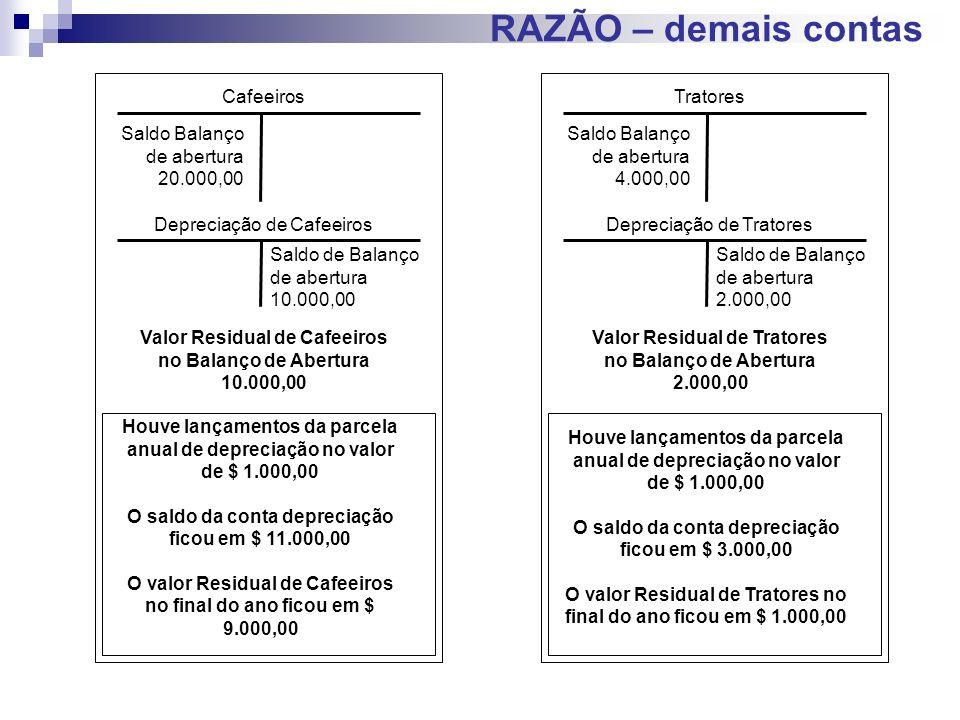 RAZÃO – demais contas Tratores Saldo Balanço de abertura 4.000,00 Depreciação de Tratores Saldo de Balanço de abertura 2.000,00 Valor Residual de Trat