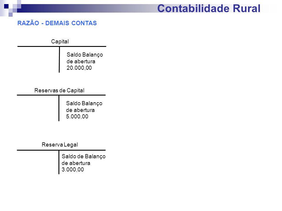 Contabilidade Rural RAZÃO - DEMAIS CONTAS Reservas de Capital Saldo Balanço de abertura 5.000,00 Reserva Legal Saldo de Balanço de abertura 3.000,00 C