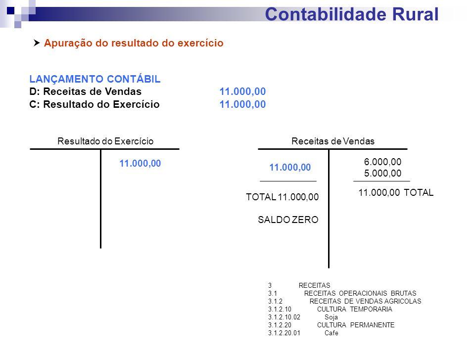 Contabilidade Rural Apuração do resultado do exercício LANÇAMENTO CONTÁBIL D: Receitas de Vendas11.000,00 C: Resultado do Exercício11.000,00 Receitas